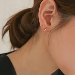 925 silver CZ mini stick earrings (2color) (925실버)