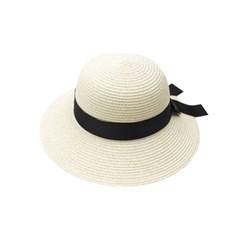 와이드 블랙 리본 20대 30대 여성 여름 버킷햇 모자