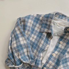 돌핀웨일 블루더플체크셔츠(70~140cm)