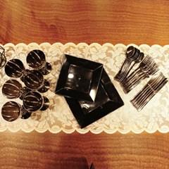 쓱싹접시 플라스틱 일회용접시 블랙 세트 36P