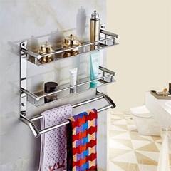 홈드림 2단 더블 수건걸이 욕실선반/스텐 욕실걸이