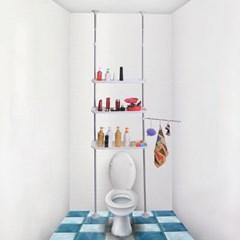 기둥식 3단 조절 욕실선반/베란다 다용도실 선반행거