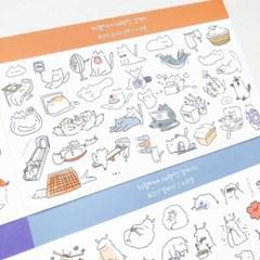 놀이터냥팩 대략적 고양이 지렁이네 칼선 스티커 시리즈 #15