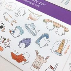 라면냥팩 대략적 고양이 지렁이네 칼선 스티커 시리즈 #13