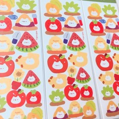 과일채소 대략적 고양이 지렁이네 칼선 스티커 시리즈 #02