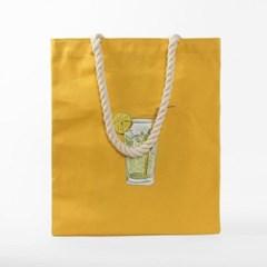 모히또 한잔 캔버스(옐로우)/면가방 지퍼형 에코백