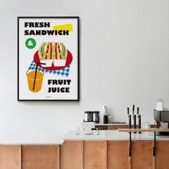 샌드위치와 과일주스 M 유니크 인테리어 디자인 포스터 카페