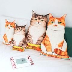 오렌지&피자박스 고양이쿠션 (L사이즈)