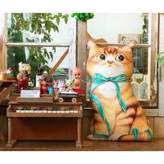 쿠션용 DIY 커트지 리본 고양이 (20수 린넨, 45X75cm)