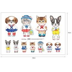 선원옷을 입은 강아지와 고양이 아이러브세일러 (DIY패브릭 45X65cm)
