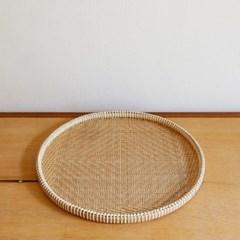 대나무 원형 트레이 채반형 35cm