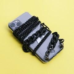 올 블랙 체인 스트랩 핸드폰 케이스_PH910