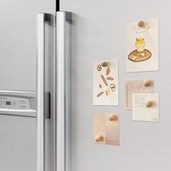 모즈온라인 우드 마그네틱 냉장고 마그넷 자석 세트 4p_(239777)