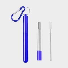 길이조절 휴대용 스텐 빨대(23cm) (블루)