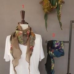 마름모 투톤 패션 명품 트윌리 할머니 패션 스카프
