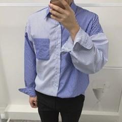 가을 남성 오버핏 배색 스트라이프 캐주얼  카라 긴팔 셔츠