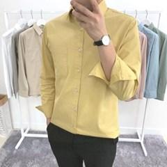 가을 남성 루즈핏 세미캐주얼 솔리드 포켓 컬러  정장 셔츠 남방