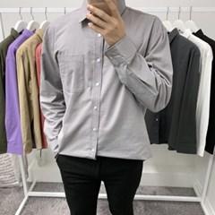 가을 남성 커플 오버핏 베이직 기본 포켓 캐주얼 긴팔 셔츠 남방