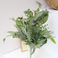 초록 그린잎 열매 믹스 조화부쉬 장식