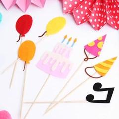 펠트 생일파티 데코픽 세트 (7P)