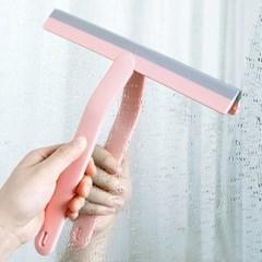 유리 거울 바닥 욕실청소 스퀴지 한손에 실리콘와이퍼 2개 1set