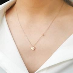 [오팔하우스]925Silver 하트앤하트 큐빅 목걸이