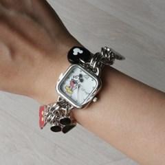 디즈니 미키 참 큐빅 체인 사각 팔찌 시계