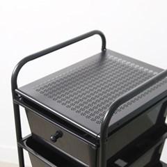 이동식 블랙 트롤리 수납장 장난감 기저귀 정리함 4단
