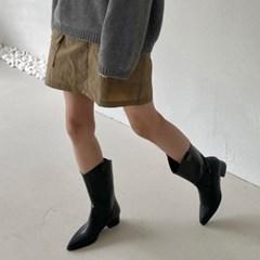 가을 뾰족코 스틸레토 가죽 웨스턴 통굽 미들 롱부츠 4.5cm