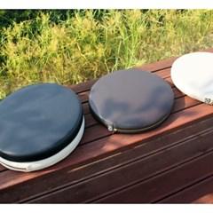 젠 솜포함 가죽 원형 방석 - 4칼라 , 자체제작