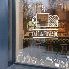 카페 창문 장식 벽 스티커_(251777)