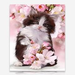 꽃과 아기고양이 DIY 보석십자수 십자수 비즈세트_(2462509)