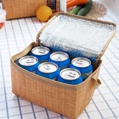 라탄무늬 미니보냉백 도시락가방 피크닉가방