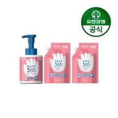 [유한양행]해피홈 핸드워시 용기 350ml+리필 200ml 핑크포레향 2개