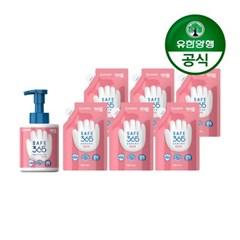 [유한양행]해피홈 핸드워시 용기 350ml+리필 200ml 핑크포레향 6개