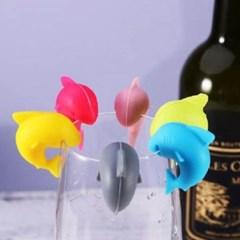 실리콘 와인잔 컵마커 6개1세트(색상랜덤)