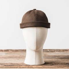 LB TWILL BRIMLESS CAP (dark brown)