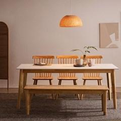 모딜리아니 M88 세라믹 원목 6인 식탁세트(의자+벤치)