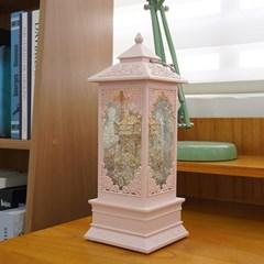 회전목마 LED 랜턴 워터볼 오르골 (핑크)