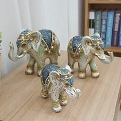 앤틱 크랙장식 나뭇잎 코끼리 3P