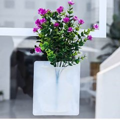 실리콘 부착형 꽃병 1개(색상랜덤)