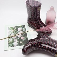 여자 장마철 방수용 여자 레인부츠 꽃무늬 장화