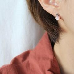 핑크 자개 플럼 귀걸이