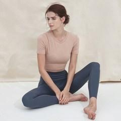 여성 요가복 DEVI-T0043-베이지 필라테스 커버업 반팔티 티셔츠