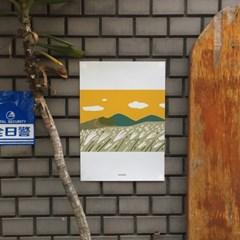 새별오름 억새풀 제주 M 유니크 인테리어 디자인 포스터 가을