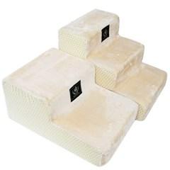 강아지 계단 2단 삼각형 베이지 애견 침대스텝 펫용품