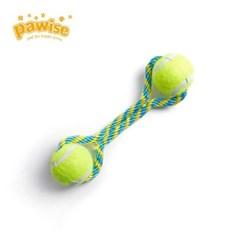 강아지 밧줄 터그 놀이 공놀이 장난감 테니스공 S