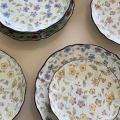 일본 도자기 아리타 리프 플라워 원형 접시 소5p 중4p 대2p