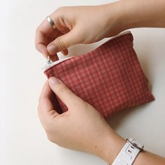 check pouch - cranberry