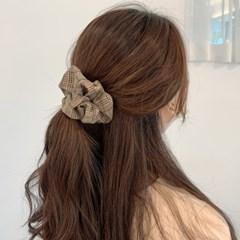 [3개세트][3color] 하운드 체크 스크런치 곱창 머리끈 세트_겨울필수